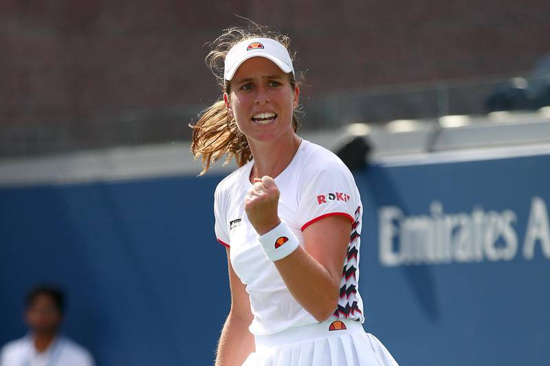 NEW YORK, NEW YORK - AUGUST 30: Johanna Konta of Great Britain reacts during her Women's Singles third round match against Shuai Zhang of China on day five of the 2019 US Open at the USTA Billie Jean King National Tennis Center on August 30, 2019 in Queens borough of New York City.   Clive Brunskill/Getty Images/AFP == FOR NEWSPAPERS, INTERNET, TELCOS & TELEVISION USE ONLY ==