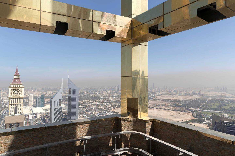 DUBAI, UNITED ARAB EMIRATES. 12 FEBRUARY 2018. The newly opened Gevora Hotel, the world's tallest hotel, located on Sheikh Zayed Road. (Photo: Antonie Robertson/The National) Journalist: Nawal Al Ramahi. Section: National.