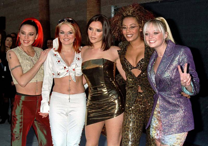 FILE PHOTO: The Spice Girls arrive for the 1997 Billboard Music Awards at the MGM Garden in Las Vegas December 8. Reuters/Fred Prouser/File Photo