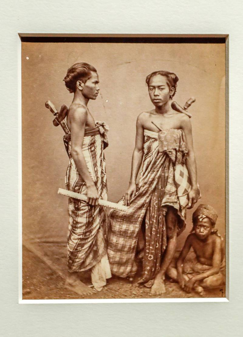 Abu Dhabi, April 23, 2019.    Photographs 1842-1896:  An early album of the world at Louvre Abu Dhabi.  -- Herman Salzwedel (ca. 1855-after 1904)Portrait of a young girl and boyIndonesia, 1877-90Print on aristotype paperParis, musée du quai Branly-Jacques ChiracVictor Besa/The National Section:  Arts & LifeReporter:  Melissa Gronlund