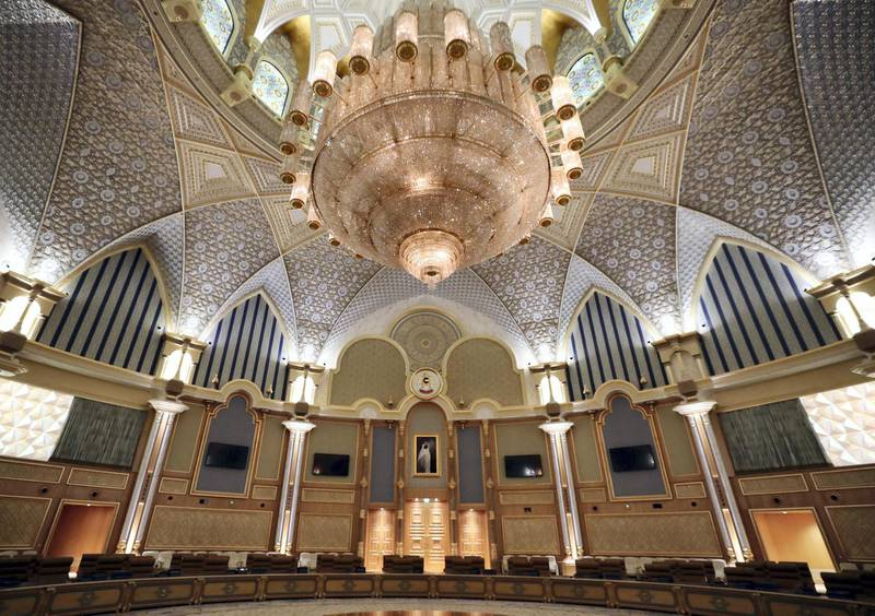 Abu Dhabi, United Arab Emirates - March 11, 2019: Exclusive preview and guided tour of Qasr Al Watan, the UAEÕs new cultural landmark. Monday the 11th of March 2019 at Qasr Al Watan, Abu Dhabi. Chris Whiteoak / The National