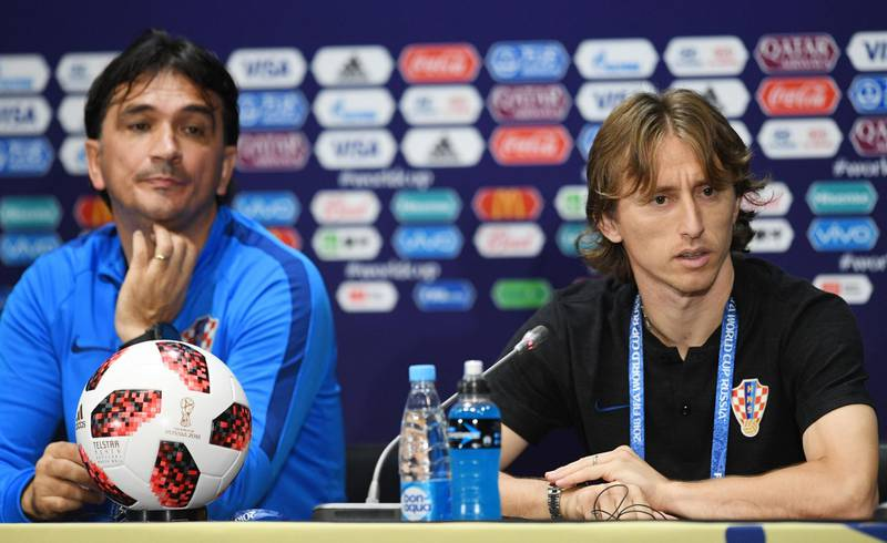 epa06887521 Croatia's headcoach Dalic Zlatko and Luka Modric speak to reporters during a press conference at the Luzhniki stadium in Moscow, Russia, 14 July 2018. Croatia will face France in their FIFA World Cup 2018 final soccer match on 15 July.  EPA/FACUNDO ARRIZABALAGA