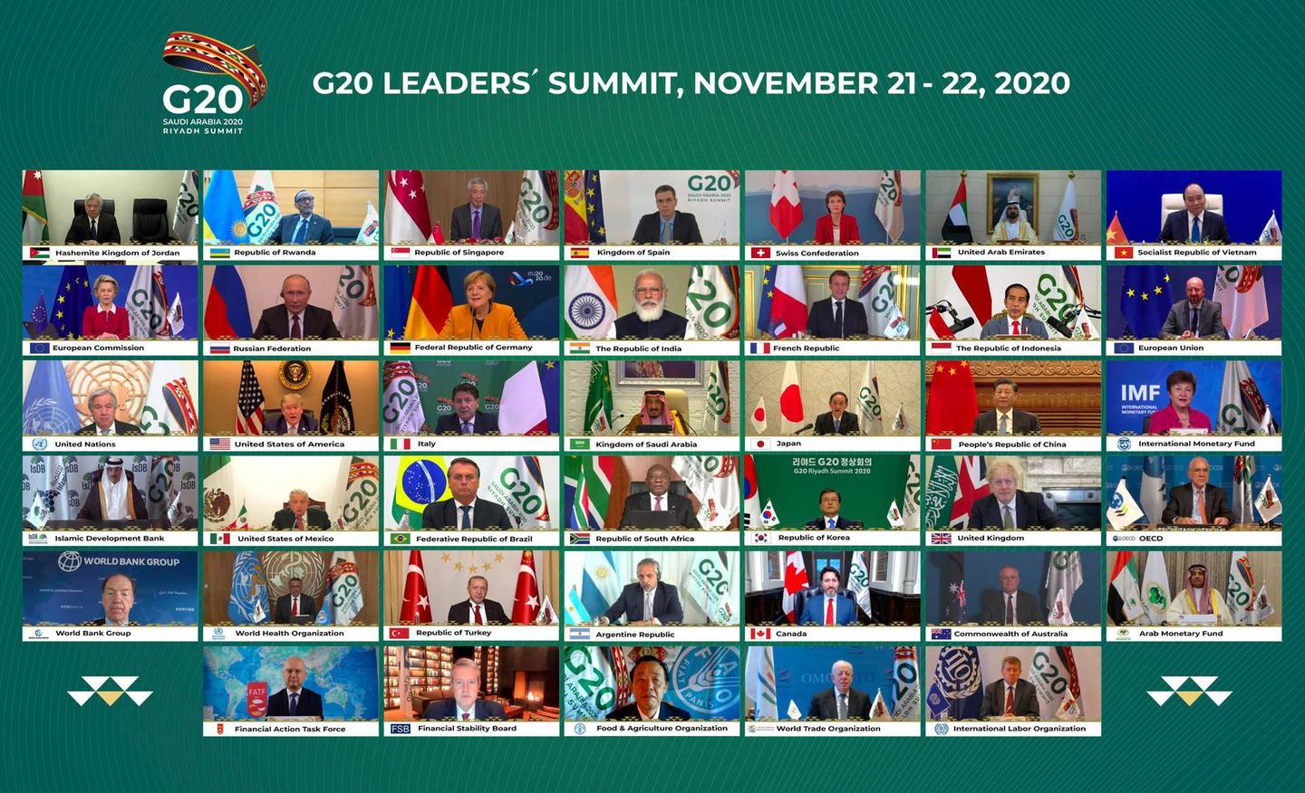 This handout photo provided by G20 Riyadh Summit, shows Saudi King Salman, center, and the rest of world leaders during a virtual G20 summit hosted by Saudi Arabia and held over video conference amid the Covid-19 pandemic, in Riyadh, Saudi Arabia, Saturday, Nov. 21, 2020. (G20 Riyadh Summit via AP)