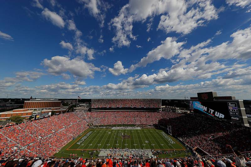 AUBURN, AL - SEPTEMBER 15: A general view of Jordan-Hare Stadium during the game between the Auburn Tigers and the LSU Tigers on September 15, 2018 in Auburn, Alabama.   Kevin C. Cox/Getty Images/AFP