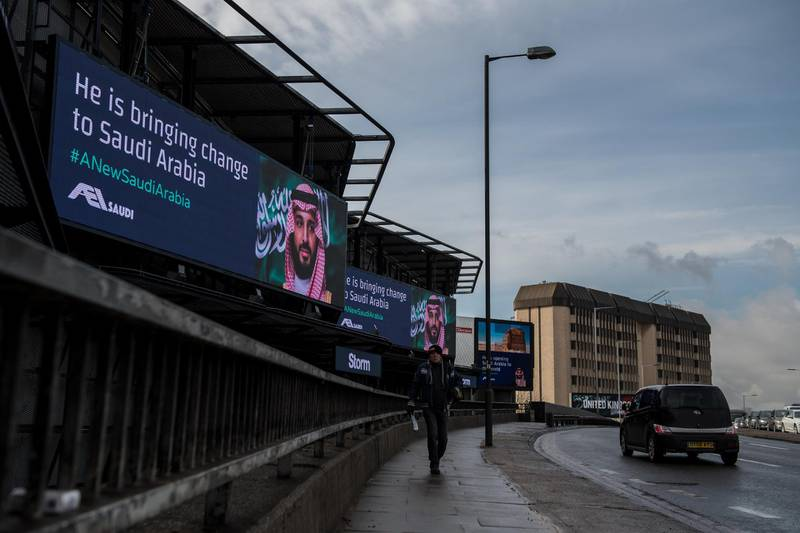 LONDON, ENGLAND - MARCH 07:  An electronic billboard shows an advert for Saudi Crown Prince Mohammed bin Salman with the hashtag '#ANewSaudiArabia' next to the A4 West Cromwell Road on March 7, 2018 in London, England. Saudi Crown Prince Mohammed bin Salman has made wide-ranging changes at home supporting a more liberal Islam. Whilst visiting the UK he will meet with several members of the Royal family and the Prime Minister.  (Photo by Chris J Ratcliffe/Getty Images)