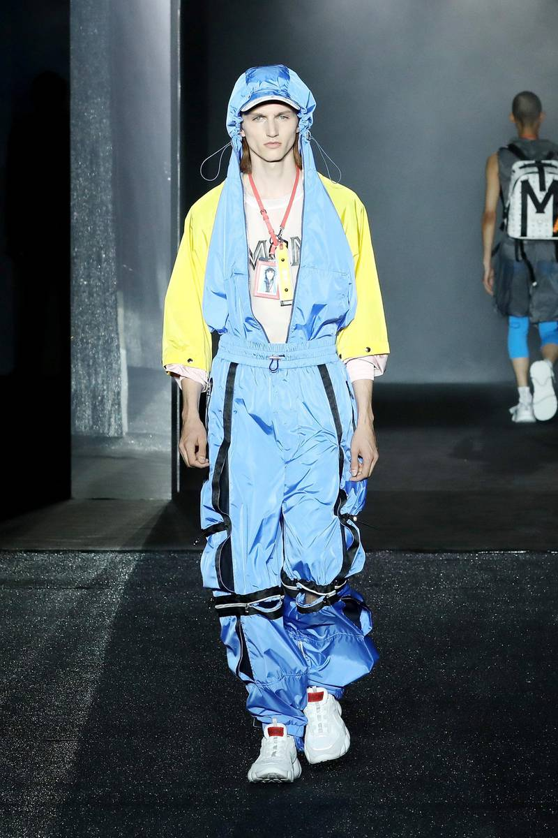 FLORENCE, ITALY - JUNE 13:  A model walks the runway at the MCM Fashion Show Spring/Summer 2019 during the 94th Pitti Immagine Uomo on June 13, 2018 in Florence, Italy.  (Photo by Elisabetta Villa/Getty Images for MCM)