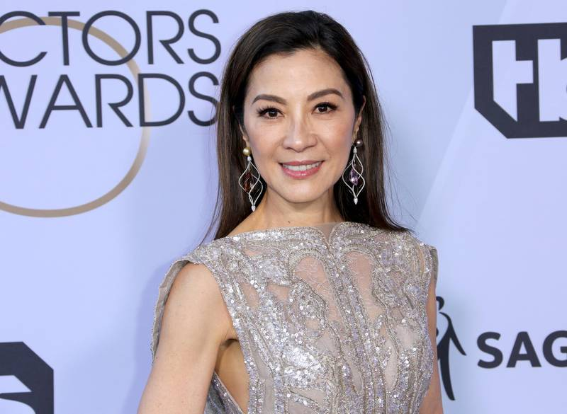 Michelle Yeoh arrives at the 25th annual Screen Actors Guild Awards at the Shrine Auditorium & Expo Hall on Sunday, Jan. 27, 2019, in Los Angeles. (Photo by Willy Sanjuan/Invision/AP)
