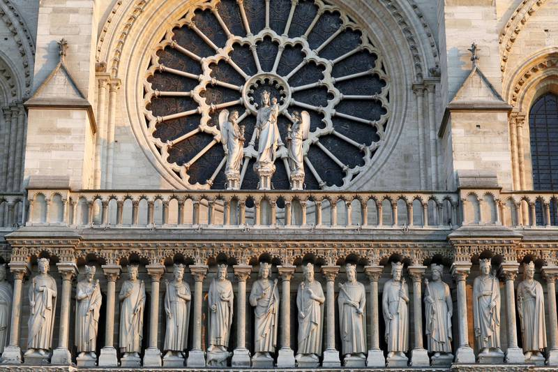 Kings gallery, Notre-Dame de Paris cathedral. (Photo by: Godong/UIG via Getty Images)