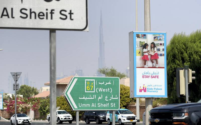 Dubai, United Arab Emirates - N/A. News. Coronavirus/Covid-19. A 'Stay Safe' sign in Jumeirah. Friday, September 11th, 2020. Dubai. Chris Whiteoak / The National