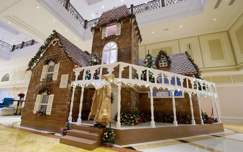 The half-ton gingerbread house at the RAK Waldorf AstoriaCREDIT: Courtesy RAK Waldorf Astoria