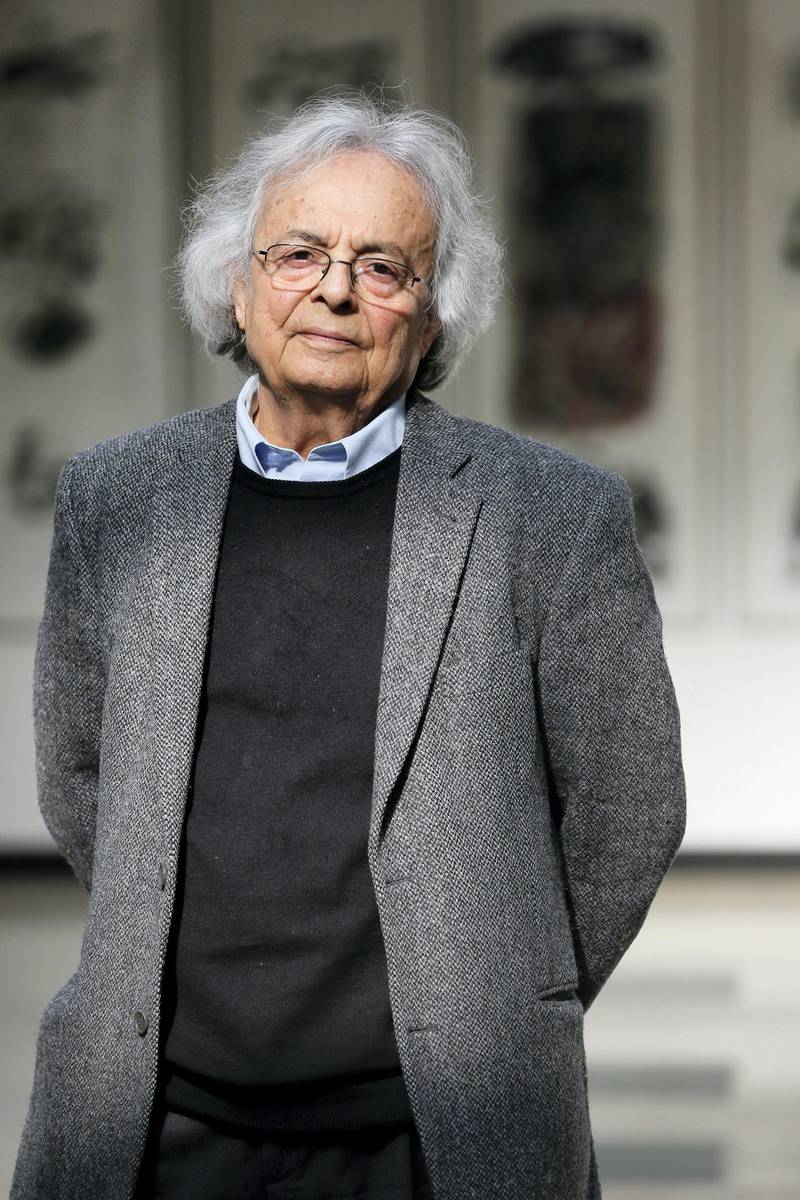 """Syrian poet  and literary critic Ali Ahmed Saïd Esber aka """"Adonis"""" poses, on March 23, 2015 in Paris.  AFP PHOTO / PATRICK KOVARIK (Photo by PATRICK KOVARIK / AFP)"""