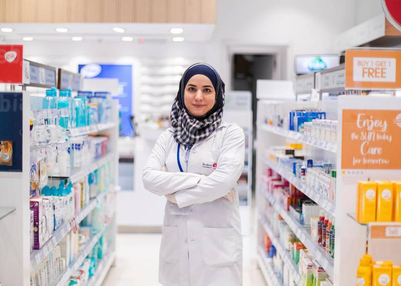 DUBAI, UNITED ARAB EMIRATES. 24 MARCH 2020. Leen Fares, pharmacist from Syria. Due to shortages, the shop is currently out of masks, but she is taking all precautionary measures to keep herself and her clients safe. She keeps distance and sterilizes every few hours. (Photo: Reem Mohammed/The National)Reporter:Section: UAE HEROES