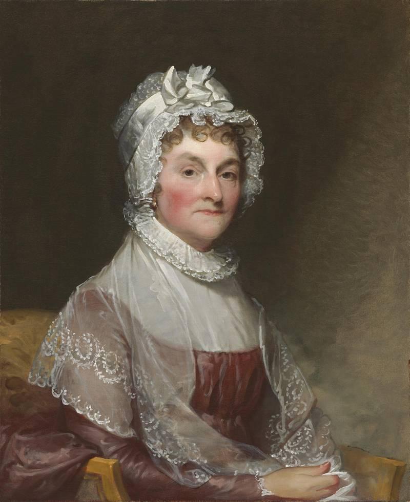 """Gilbert Stuart, Abigail Smith Adams (Mrs. John Adams), 1800/1815, oil on canvas, overall: 73.4 x 59.7 cm (28 7/8 x 23 1/2 in.) framed: 97.5 x 84.8 x 10.8 cm (38 3/8 x 33 3/8 x 4 1/4 in.), Gift of Mrs. Robert Homans, 1954.7.2"""