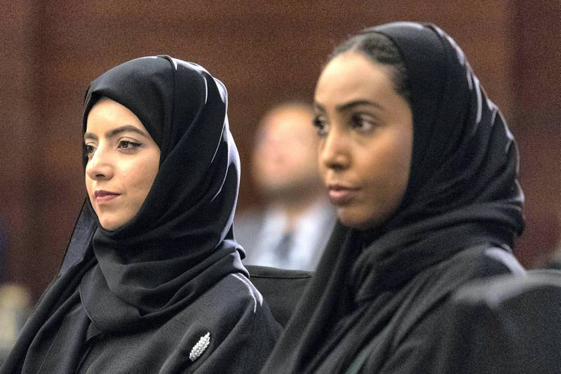 Dubai, United Arab Emirates, September 19, 2017:    Sara Abdulrahim, left, and Arwa Ali, volunteers with the Emirates Foundation's Esref Sah Programme attend a panel discussion about boosting financial literacy confidence among youth, hosted by the Emirates Foundation at The Address Hotel in the Dubai Marina area of Dubai on September 19, 2017. Christopher Pike / The National  Reporter: Alice Haine Section: News