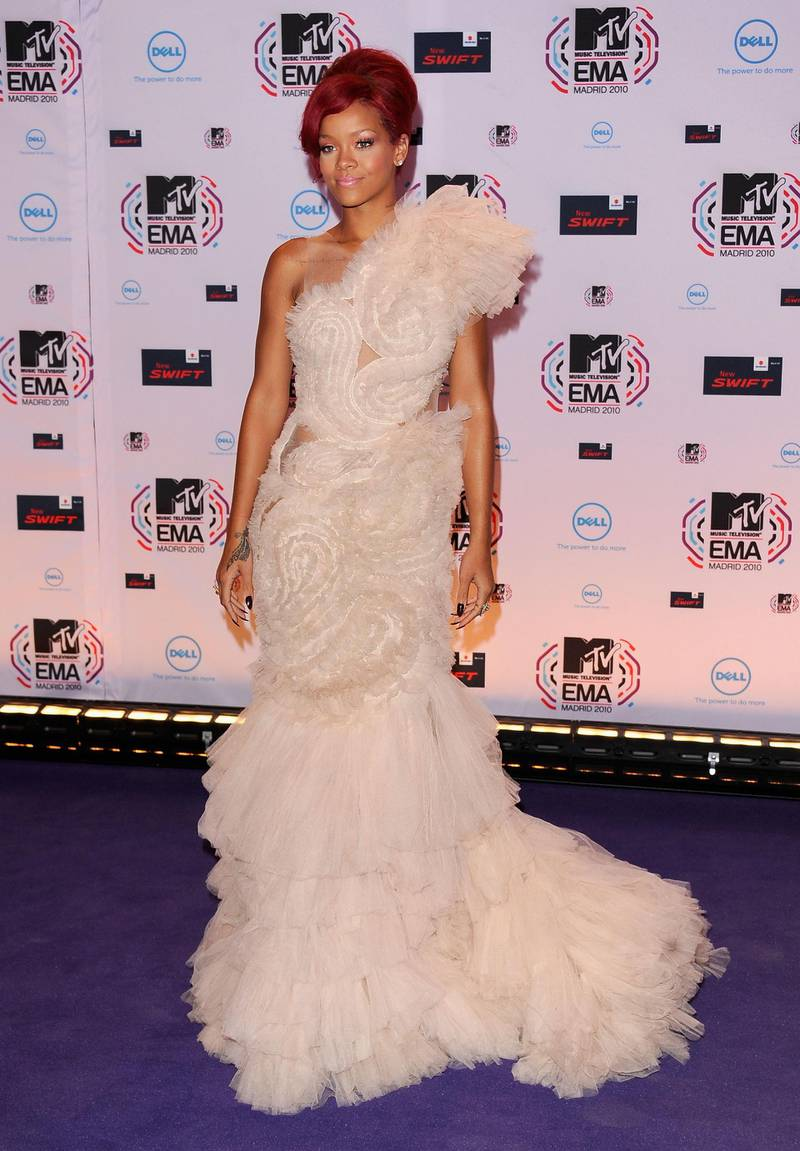 MADRID, SPAIN - NOVEMBER 07:  Musician Rihanna attends the MTV Europe Awards 2010 at the La Caja Magica on November 7, 2010 in Madrid, Spain.  (Photo by Ian Gavan/Getty Images)