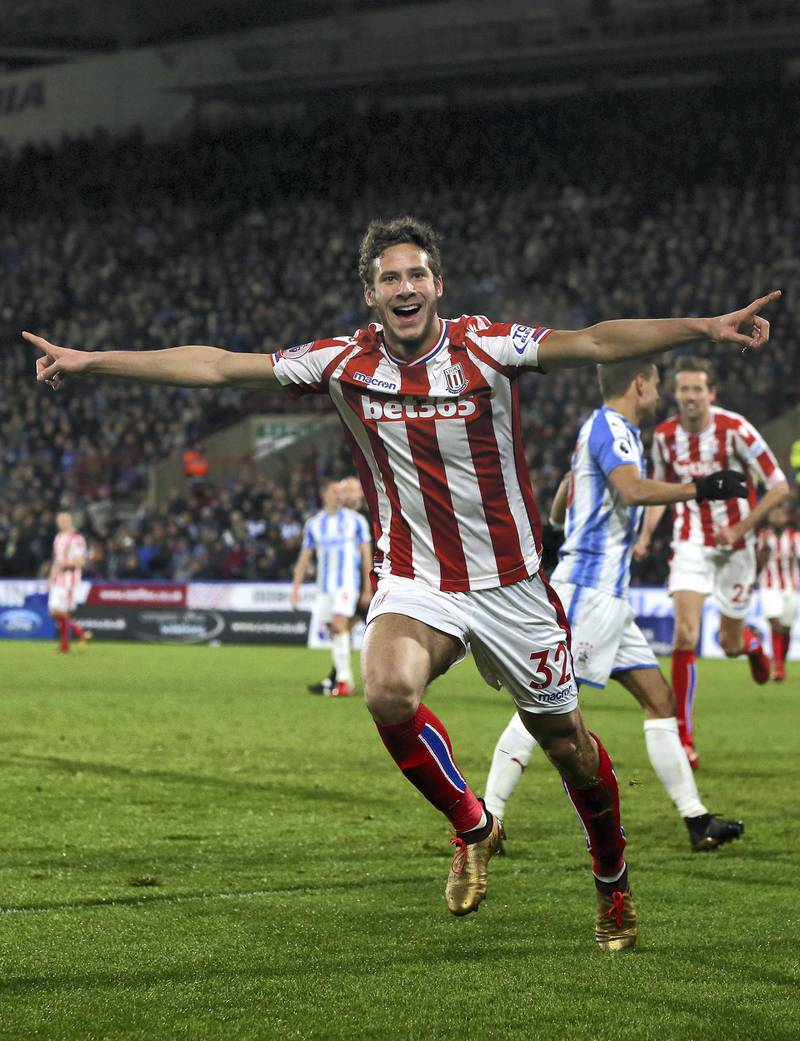 HUDDERSFIELD, ENGLAND - DECEMBER 26:  Ramadan Sobhi of Stoke City celebrates after scoring his sides first goal during the Premier League match between Huddersfield Town and Stoke City at John Smith's Stadium on December 26, 2017 in Huddersfield, England.  (Photo by Nigel Roddis/Getty Images)