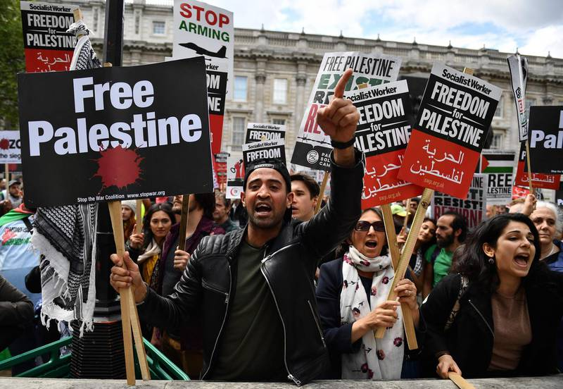 Protesters holding a placards shout at counter-demonstrators during a march calling for justice for Palestinians amid a growing threat of further war in the Middle East in central London on May 11, 2019.        https://www.facebook.com/events/260404684903442/     From: stwc-press-request@lists.riseup.net [mailto:stwc-press-request@lists.riseup.net] On Behalf Of Stop the War Coalition Sent: 10 May 2019 12:13 To: stwc-press@lists.riseup.net Subject: Press Release: Ahed Tamimi to Join the Palestine Demonstration Tomorrow   Press Release  Issued: 10 May 2019 For immediate release: Ahed Tamimi to Join the Palestine Demonstration Tomorrow   demonstration for Palestine  The Palestinian activist Ahed Tamimi, famous for confronting Israeli soldiers in the Occupied Territories and serving eight months in an Israeli Prison, will be joining the national tomorrow, Saturday 11 May.   Stop the War Convenor, Lindsey German, comments:     / AFP / Daniel LEAL-OLIVAS