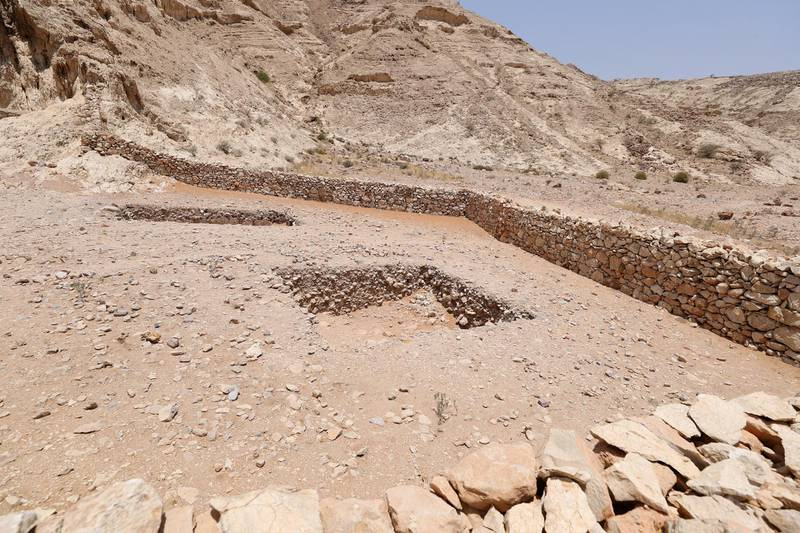 Sharjah, United Arab Emirates - July 10, 2019: Weekend's postcard section. The Faya cave site at the Mleiha Archaeological Centre. Wednesday the 10th of July 2019. Maleha, Sharjah. Chris Whiteoak / The National