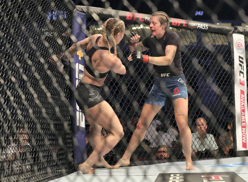 Abu Dhabi, United Arab Emirates - September 07, 2019: Women's Flyweight bout between Joanne Calderwood (blue shorts, winner) and Andrea Lee in the Prelims at UFC 242. Saturday the 7th of September 2019. Yas Island, Abu Dhabi. Chris Whiteoak / The National