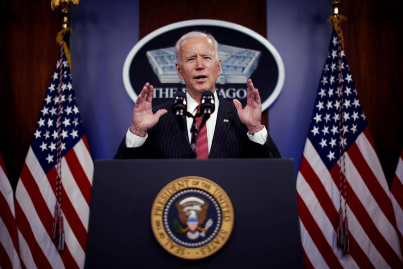 FILE PHOTO: U.S. President Joe Biden delivers remarks to Defense Department personnel during a visit to the Pentagon in Arlington, Virginia, U.S., February 10, 2021. REUTERS/Carlos Barria/File Photo