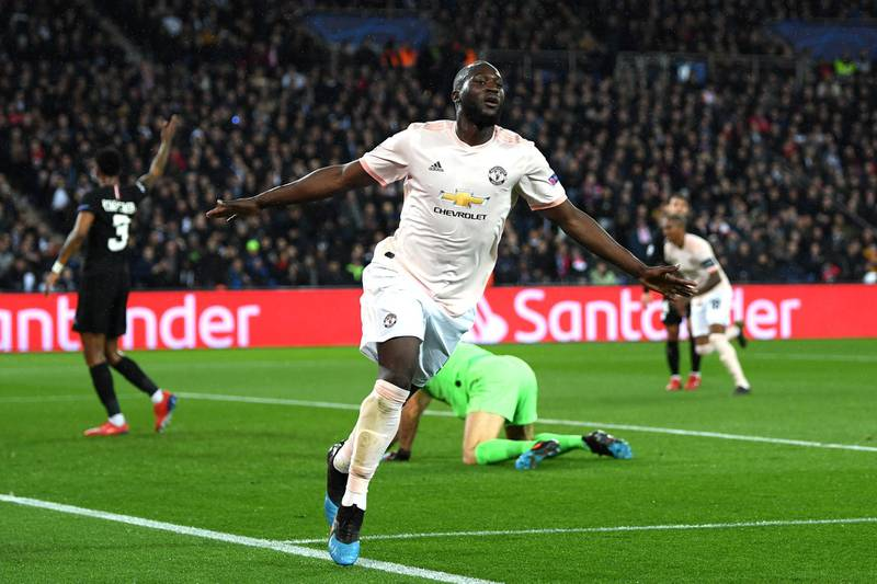 PARIS, FRANCE - MARCH 06: Romelu Lukaku of Manchester United celebrates after scoring his sides second goal  during the UEFA Champions League Round of 16 Second Leg match between Paris Saint-Germain and Manchester United at Parc des Princes on March 06, 2019 in Paris, . (Photo by Shaun Botterill/Getty Images)