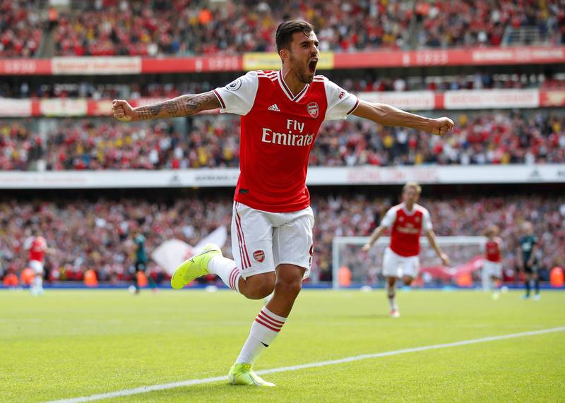 """Soccer Football - Premier League - Arsenal v Burnley - Emirates Stadium, London, Britain - August 17, 2019  Arsenal's Dani Ceballos celebrates their second goal   REUTERS/David Klein  EDITORIAL USE ONLY. No use with unauthorized audio, video, data, fixture lists, club/league logos or """"live"""" services. Online in-match use limited to 75 images, no video emulation. No use in betting, games or single club/league/player publications.  Please contact your account representative for further details."""