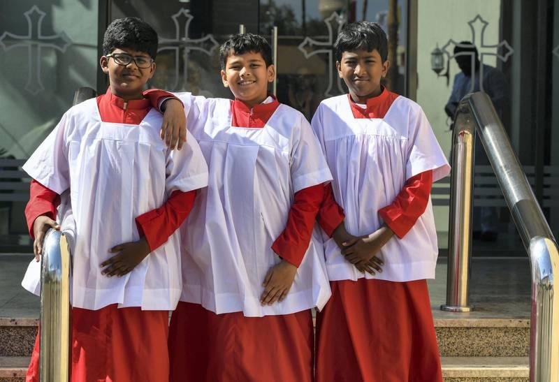 Abu Dhabi, United Arab Emirates - Left, Allen Joseph, Daksh Pandit and Ashten Raja part of the choir group saw the Pope at St. JosephÕs Cathedral on February 5, 2019. Khushnum Bhandari for The National