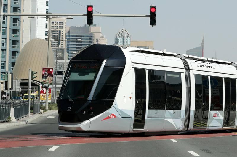 DUBAI, UNITED ARAB EMIRATES , October 25– 2020 :- View of the Dubai Tram in Dubai Marina in Dubai. (Pawan Singh / The National) For News/Stock