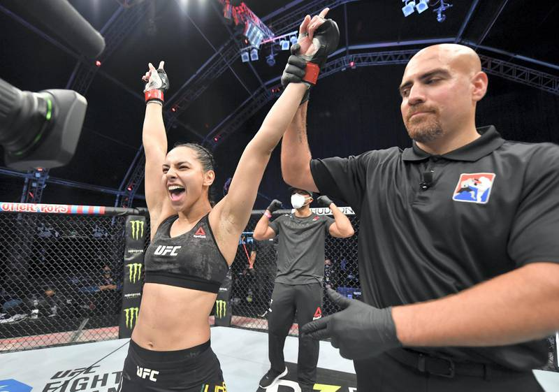 ABU DHABI, UNITED ARAB EMIRATES - JULY 19: Ariane Lipski of Brazil celebrates after her victory over Luana Carolina of Brazil in their flyweight bout during the UFC Fight Night event inside Flash Forum on UFC Fight Island on July 19, 2020 in Yas Island, Abu Dhabi, United Arab Emirates. (Photo by Jeff Bottari/Zuffa LLC via Getty Images)