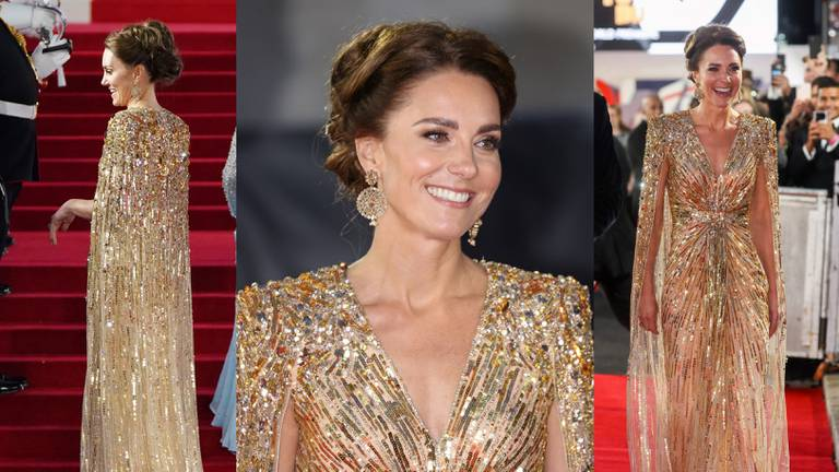 An image that illustrates this article Kate Middleton dazzles in gold at 'No Time to Die' premiere with nod to Princess Diana