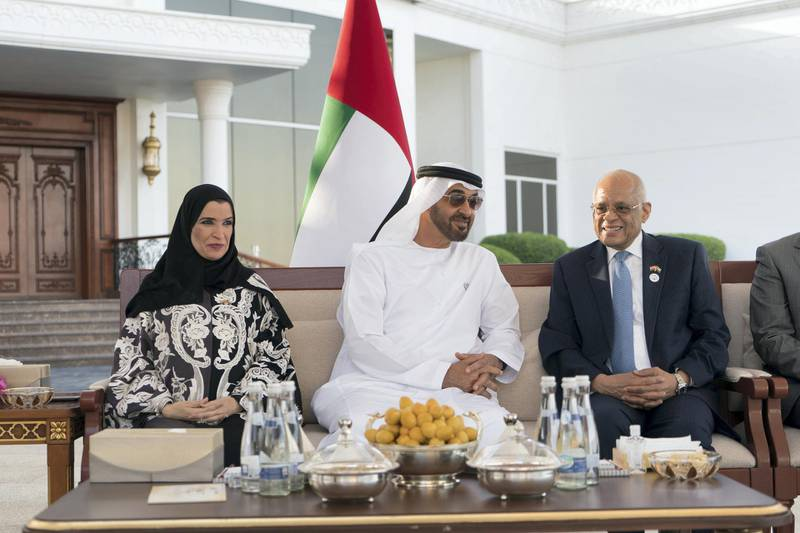 ABU DHABI, UNITED ARAB EMIRATES - February 26, 2018: HH Sheikh Mohamed bin Zayed Al Nahyan, Crown Prince of Abu Dhabi and Deputy Supreme Commander of the UAE Armed Forces (C), meets with Dr Ali Abdel Aal, Speaker of the Egyptian House of Representatives (L), during a Sea Palace barza. Seen with HE Dr Amal Abdullah Al Qubaisi, Speaker of the Federal National Council (FNC) (L). ( Rashed Al Mansoori / Crown Prince Court - Abu Dhabi ) ---