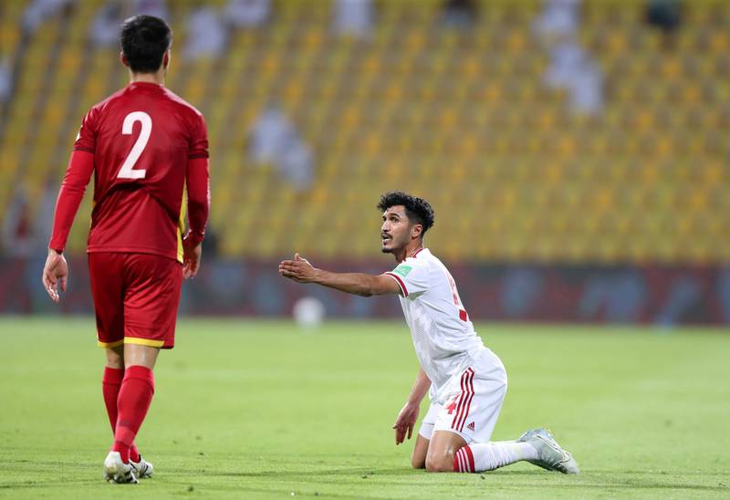 Khalil Ibrahim of the UAE complains about a foul during the game between the UAE and Vietnam in the World cup qualifiers at the Zabeel Stadium, Dubai on June 15th, 2021. Chris Whiteoak / The National.  Reporter: John McAuley for Sport
