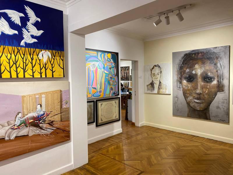 Artwork on display in the Doko al Jidran exhibition at the ArtTalks gallery. Nada El Sawy / The National