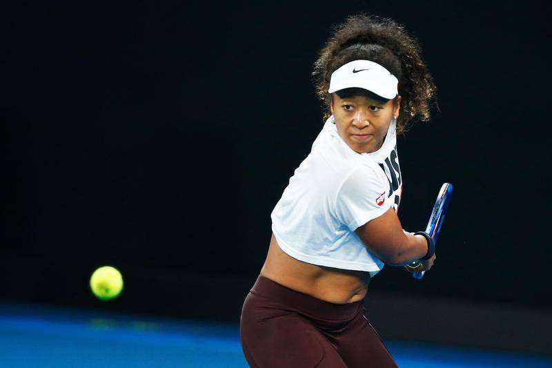 MELBOURNE, AUSTRALIA - JANUARY 16: Naomi Osaka of Japan practices ahead of the 2020 Australian Open at Melbourne Park on January 16, 2020 in Melbourne, Australia. (Photo by Daniel Pockett/Getty Images)