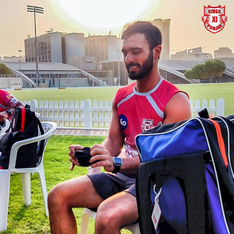 Mandeep Singh prepares for his first training session in Dubai. Courtesy Kings XI Punjab twitter / @lionsdenkxip