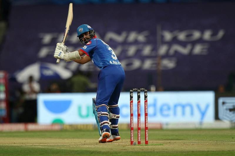 Ajinkya Rahane of Delhi Capitals plays a shot  during match 27 of season 13 of the Dream 11 Indian Premier League (IPL) between the Mumbai Indians and the Delhi Capitals at the Sheikh Zayed Stadium, Abu Dhabi  in the United Arab Emirates on the 11th October 2020.  Photo by: Pankaj Nangia  / Sportzpics for BCCI