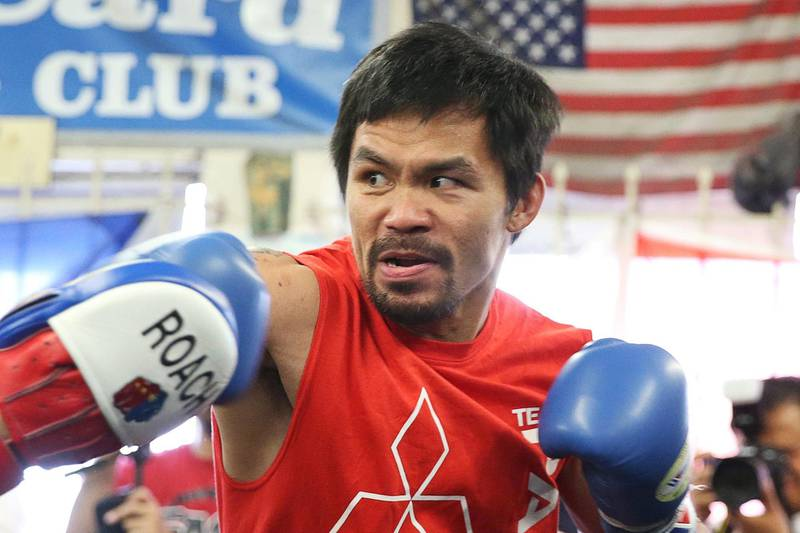 Boxer Manny Pacquiao of the Philippines works out in advance of his WBO welterweight bout against Jessie Vargas, in Los Angeles, California, U.S., October 26, 2016. REUTERS/Lucy Nicholson