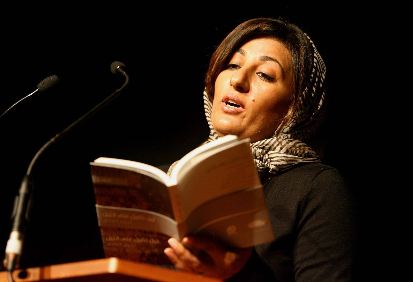 LONDON.14th July 2010. Emirati poet Nujoom al Ghanem rehearses reading her poetry at the Southbank Centre  in London as part of the London Literature Festival.  Stephen Lock for The National.