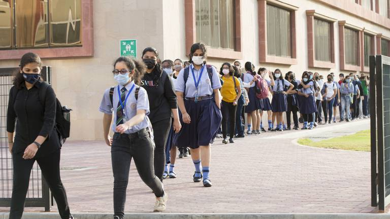 An image that illustrates this article Dubai school celebrates return of pupils as distance learning ends