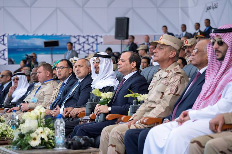 BERENICE, EGYPT - January 15, 2020: HH Sheikh Mohamed bin Zayed Al Nahyan, Crown Prince of Abu Dhabi and Deputy Supreme Commander of the UAE Armed Forces (5th R) and HE Abdel Fattah El Sisi, President of Egypt (4th R), attend the opening ceremony of BereniceMilitary Base. Seen with HE Boyko Borissov, Prime Minister of Bulgaria (6th R).  ( Hamad Al Kaabi /  Ministry of Presidential Affairs ) —