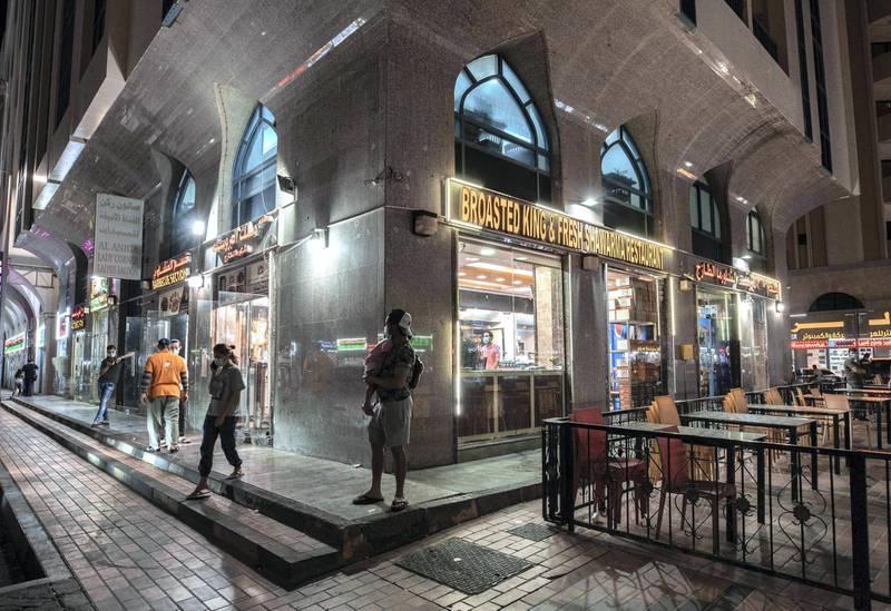 Abu Dhabi, United Arab Emirates, October  11, 2020.  Khalidiya by night article by Saeed Saeed on restaurants, café's on Al Yahar Street.  The Broasted King Fresh Shawarma Restaurant on the corner of Al Yahar and Al Youlah street.Victor Besa/The NationalSection:  NAReporter:  Saeed Saeed