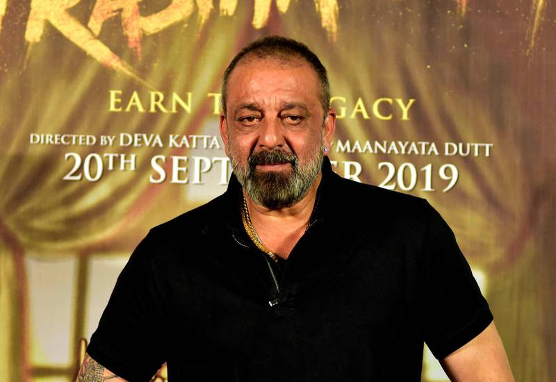 Indian Bollywood actor and film producer Sanjay Dutt looks on during the celebration of his 60th birthday and the launch of the upcoming Hindi movie 'Prasthanam' in Mumbai on July 29, 2019. (Photo by Sujit Jaiswal / AFP)