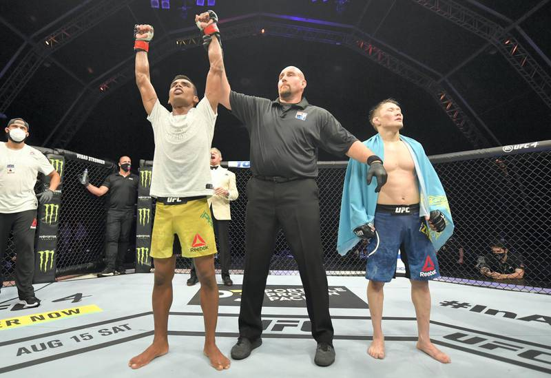 ABU DHABI, UNITED ARAB EMIRATES - JULY 12: Raulian Paiva of Brazil reacts after his decision victory over Zhalgas Zhumagulov of Kazakhstan in their flyweight fight during the UFC 251 event at Flash Forum on UFC Fight Island on July 12, 2020 on Yas Island, Abu Dhabi, United Arab Emirates. (Photo by Jeff Bottari/Zuffa LLC)