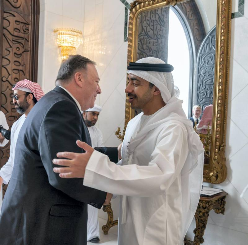 ABU DHABI, UNITED ARAB EMIRATES - September 19, 2019: HH Sheikh Abdullah bin Zayed Al Nahyan, UAE Minister of Foreign Affairs and International Cooperation (R), greets Michael R Pompeo, Secretary of State of the United States of America (L), prior to a meeting the Sea Palace    ( Mohamed Al Hammadi / Ministry of Presidential Affairs ) ---