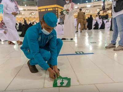 Saudi Arabia relaxes Covid-19 measures at the Grand Mosque in Makkah – in pictures