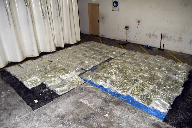 """This handout picture released on August 29, 2019 by the Australian Border Force shows Australian law enforcement's seized record 755 kilogrammes of methamphetamine hidden in a shipment of frozen cowhides from Mexico. - The crystal meth was wrapped in aluminium foil and sandwiched among 18 pallets of hides that arrived in Sydney aboard a shipping container marked """"Salty Bovine Skin"""". (Photo by - / AUSTRALIAN BORDER FORCE / AFP) / RESTRICTED TO EDITORIAL USE - MANDATORY CREDIT """"AFP PHOTO / AUSTRALIA FEDERAL POLICE """" - NO MARKETING - NO ADVERTISING CAMPAIGNS - DISTRIBUTED AS A SERVICE TO CLIENTS"""