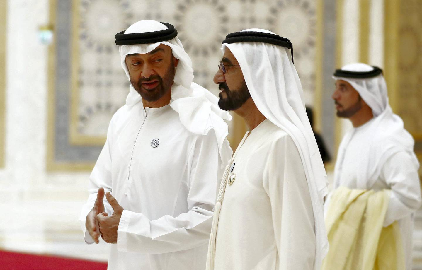 ABU DHABI , UNITED ARAB EMIRATES , JULY 20  – 2018 :- Sheikh Mohammed bin Zayed Al Nahyan , Crown Prince of Abu Dhabi and Deputy Supreme Commander of the UAE Armed forces and  Sheikh Mohammed Bin Rashid Al Maktoum , Vice President and Prime Minister of the UAE and Ruler of Dubai arriving  to receive the Chinese President Xi Jinping at the Presidential Palace in Abu Dhabi.  ( Pawan Singh / The National )  For News. Story by John
