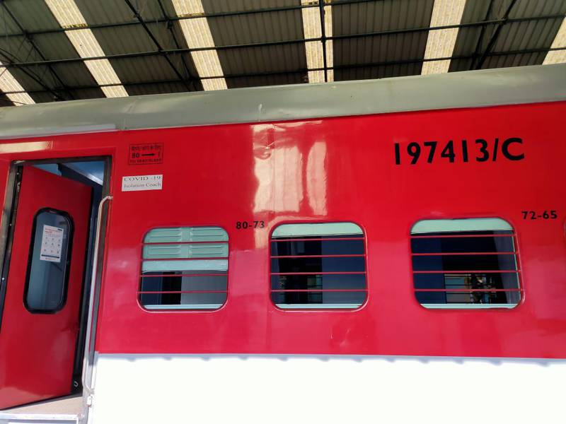 An Indian Railways train carriage converted into a ward for coronavirus patients. courtesy: Indian Railways