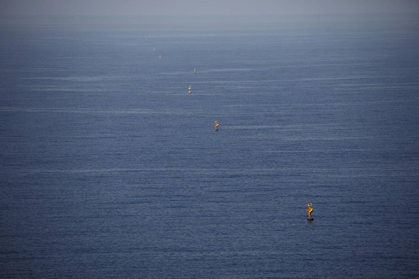 FILE PHOTO: Maritime border markers are seen in the Mediterranean Sea near Lebanon, as seen from Rosh Hanikra, northern Israel October 28, 2020. REUTERS/Amir Cohen/File Photo