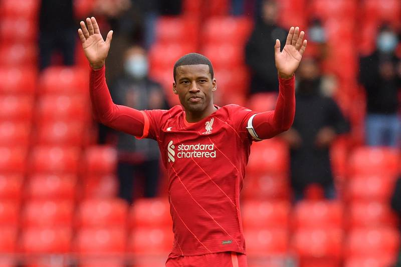 (FILES) In this file photo taken on May 23, 2021 Liverpool's Dutch midfielder Georginio Wijnaldum leaves the pitch after being substituted off during the English Premier League football match between Liverpool and Crystal Palace at Anfield in Liverpool, north west England. Paris Saint-Germain have completed the signing of Dutch international midfielder Georginio Wijnaldum from Liverpool on a three-year deal, the French club announced on June 10, 2021. - RESTRICTED TO EDITORIAL USE. No use with unauthorized audio, video, data, fixture lists, club/league logos or 'live' services. Online in-match use limited to 120 images. An additional 40 images may be used in extra time. No video emulation. Social media in-match use limited to 120 images. An additional 40 images may be used in extra time. No use in betting publications, games or single club/league/player publications.  / AFP / POOL / Paul ELLIS / RESTRICTED TO EDITORIAL USE. No use with unauthorized audio, video, data, fixture lists, club/league logos or 'live' services. Online in-match use limited to 120 images. An additional 40 images may be used in extra time. No video emulation. Social media in-match use limited to 120 images. An additional 40 images may be used in extra time. No use in betting publications, games or single club/league/player publications.